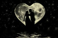Stock Illustration of Romantic valentine atmosphere with couple at the moonlight