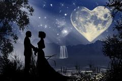 Stock Illustration of Valentine romantic atmosphere with heart shaped moon