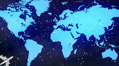 airplane earth map and snow 2015 - stock footage