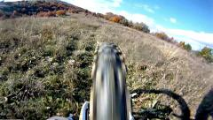Stock Video Footage of mountain bike video: a single track in the forest - stock video. rearview dow
