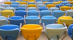 Colored Seating rows in the Maracana stadium in Rio de Janeiro, Brazil Stock Footage
