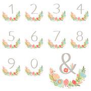 Numeric hand drawn wreath table card Stock Illustration
