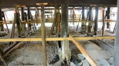 Repair pillar of Beneath or under the building House thai style Stock Footage