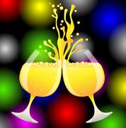 ringing of glasses of champagne on a bright christmas background - stock illustration