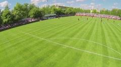 Spostsmen attack gate on football field of Spartakovec stadium Stock Footage