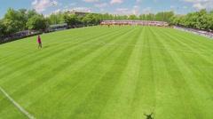 Goalkeeper celebrates goal on soccer field of Spartakovec stadium Stock Footage