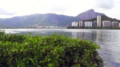 View of Rodrigo de Freitas Lagoon in Rio de Janeiro, Brazil Stock Footage