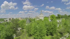 Cityscape with Spaso-Andronikov monastery at spring sunny day Stock Footage