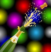 Open bottle of champagne and cork on a bright christmas background Stock Illustration