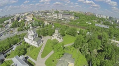Megalopolis with Spaso-Andronikov monastery and traffic on quay - stock footage