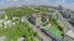 City panorama with Spaso-Andronikov monastery on Jauza river quay Stock Footage