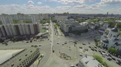 Traffic on crossroad near Cathedral of St. Sergius of Radonezh Stock Footage