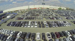 Lot of vehicles on parking for new car of Avtoframos company Stock Footage