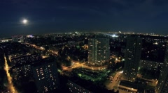Cityscape with traffic on boulevard of Marshal Rokosovsky Stock Footage