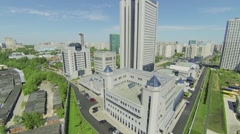 Corporate complex with headquarters of Gazprom company Stock Footage