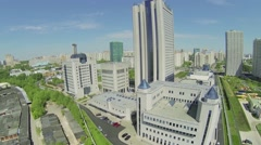Business complex with headquarters of Gazprom company Stock Footage