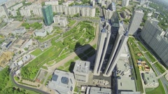 Cityscape with corporate complex of Gazprom company at spring Stock Footage