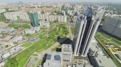 Cityscape with skyscraper in business complex at spring sunny day Stock Footage