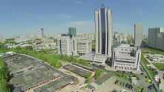 City panorama with business complex of Gazprom company at spring Stock Footage