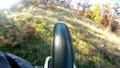 Hd mtb speeding along mountain ridge rear view - stock video. extreme downhil Stock Footage