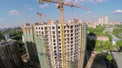 Construction site of residential complex Vinogradny at spring Stock Footage