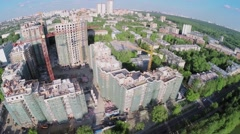 Cityscape with construction site of residential complex Stock Footage