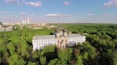 Cathedral of Intercession of Blessed Virgin Mary among plants Stock Footage