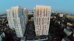 Cityscape with dwelling complex Bogorodsky at evening. Stock Footage