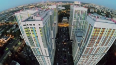 Residential complex Bogorodsky against cityscape at evening Stock Footage