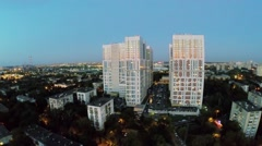 Residential complex Bogorodsky against townscape at evening Stock Footage