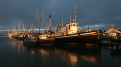 Moored Fishboats, Approaching Storm, Steveston Stock Footage