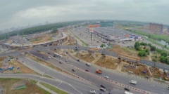 City panorama with building site of Borovskaja flyover Stock Footage