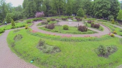 Square of small rosarium  in park Sokolniki at spring day. Stock Footage