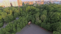 Cityscape with venue for public events in Sokolniki park Stock Footage