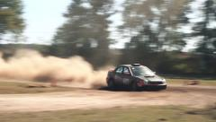 Subaru Rally Car Jump and Turn Stock Footage