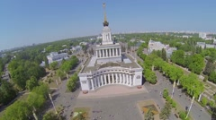 Main pavilion of All Russia Exhibition Complex against cityscape Stock Footage