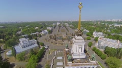 Spire with star of Main pavilion against megalopolis - stock footage
