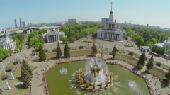 Fountain Friendship of Nations on square with many tourists Stock Footage