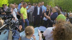 Official Kulbachevsky talk with people during meeting Stock Footage