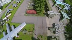 Open area of Museum of Armed Forces with military hardware - stock footage