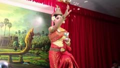 Traditional Apsara dancer in local restaurant in Siem Reap city, Cambodia Stock Footage