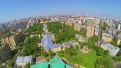 Cityscape with edifice of Academic Theatre of Russian Army Stock Footage
