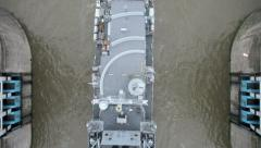 London - Military vessel HMS St Albans seen from the glass roof of Tower Bridge Stock Footage