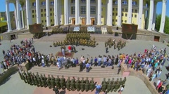 Square with military choir which performs near Academic Theatre - stock footage