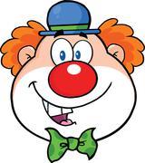 Funny Clown Head Cartoon Character - stock illustration