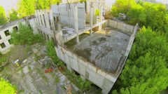 Building under construction at sunny spring day. Aerial view Stock Footage