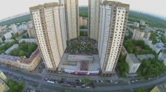 Residential complex Izmailovsky against cityscape and park Stock Footage