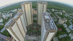 Cityscape with big dwelling complex near large park at spring Stock Footage
