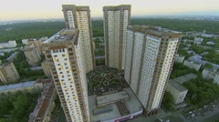 Townscape with residential complex Izmailovskii on street Stock Footage