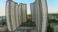 Residential complex Izmailovskii against townscape and park Stock Footage